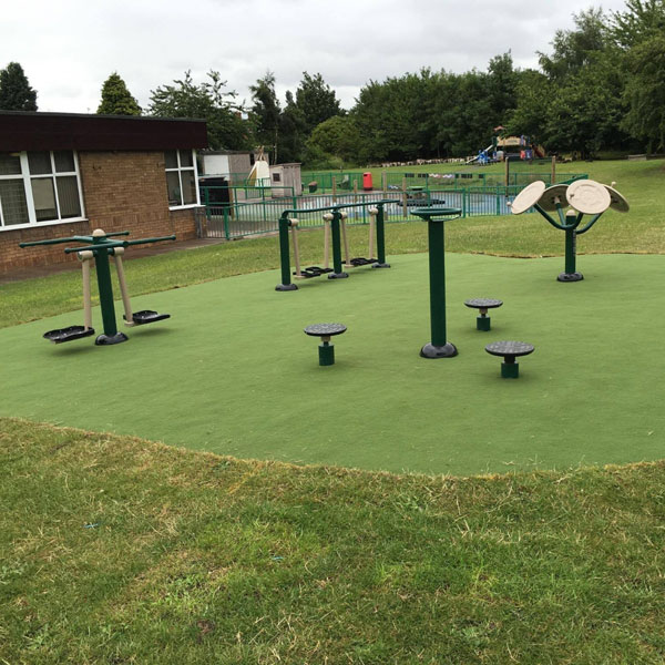 Fitness equipment at outdoor park in North Wales